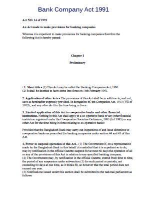 Bank Company Act 1991