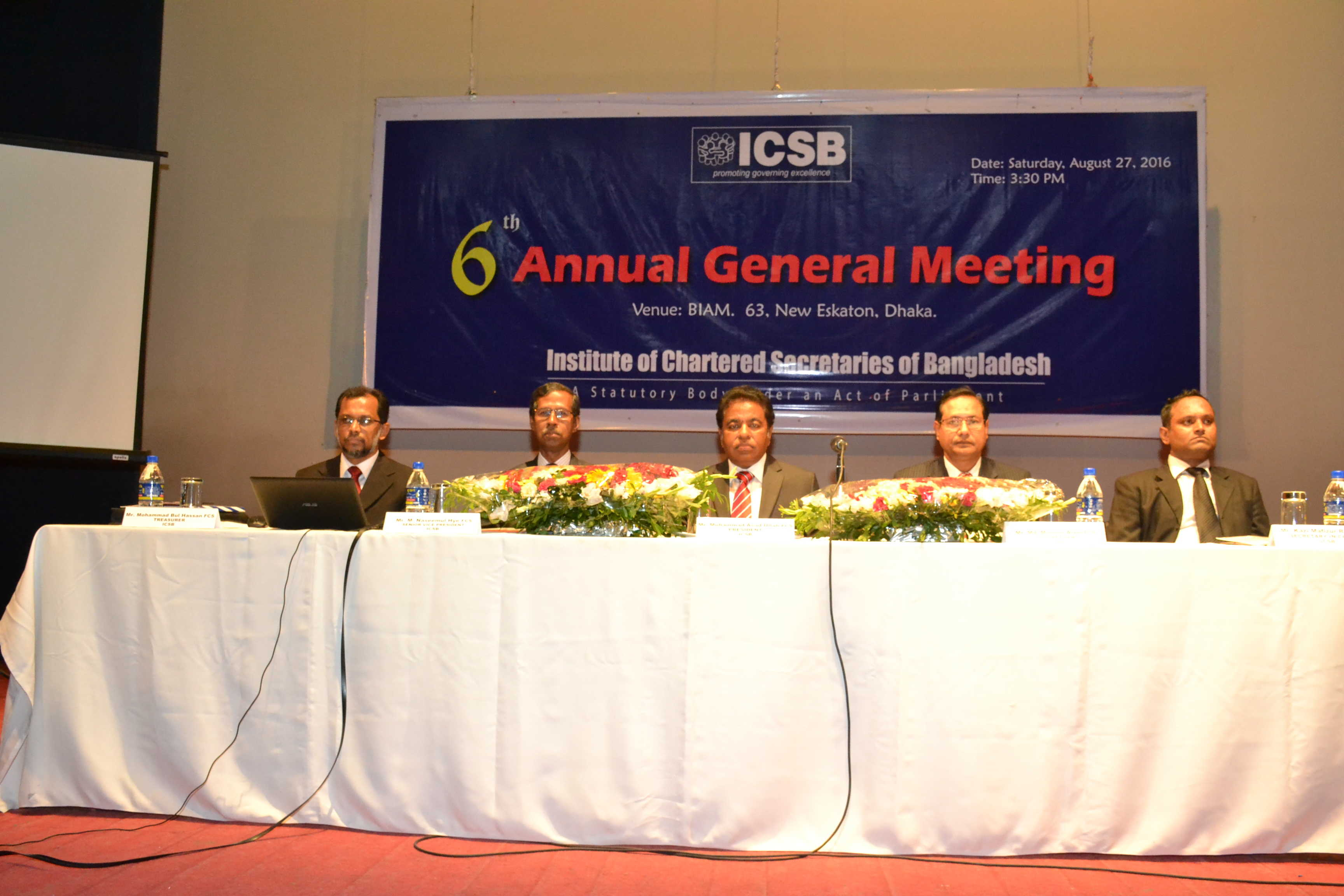 6th Annual General Meeting & 3rd Election to the Council of Institute of Chartered Secretaries (ICSB) held on